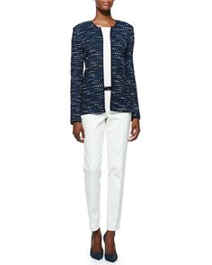 Inlay Ribbon Stripe Knit Jacket, Rib Knit Bateau Neck Shell, Stretch Micro Ottoman Pants & Leather Bar-Detail Belt by St. John Collection at Neiman Marcus.