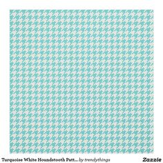 Turquoise White Houndstooth Pattern Fabric