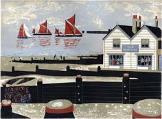Oyster Smack and Thames Barges Approaching Whitstable Harbour #featured #linocut