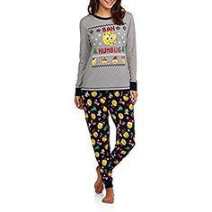 e10df86d95 Secret Treasures Women s Christmas Pajamas - Long Sleeve Knit Sleep Top and  Jogger Sleep Pant 2 Piece Sleepwear Set (Sizes Size  XL