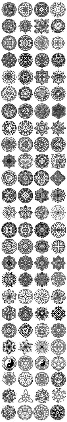 100 Vector Mandala Ornaments by pixaroma on @creativemarket