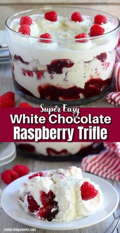 A White Chocolate Raspberry Trifle made from layers of cake, white chocolate mousse, whipped cream, raspberry jam and fresh raspberries. A beautiful and surprisingly easy dessert. VIDEO below!