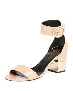 Podium+Leather+70mm+Sandal,+Beige+by+Roger+Vivier+at+Neiman+Marcus.