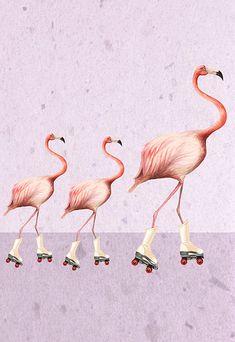 Flamingo Art Print Pink Wall Decor Vogel Acryl Malerei