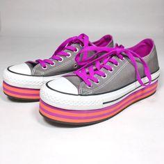 CONVERSE All Star Platform Sneakers Low Womens SIZE 6.5 Gray Pink Orange  Striped 463ec1980b2