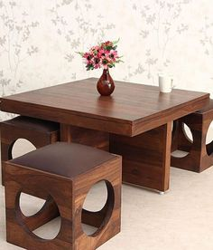 Ethnic India Art solid Wood Coffee Table with 4 Stools Buy Ethnic.ethnic India Art solid Wood Coffee Table with 4 Stools Buy Ethnic. Solid Oak Coffee Table, Diy Coffee Table, Coffee Table Design, Sofa Table Design, Coffee Table With Stools, Unique Furniture, Home Decor Furniture, Furniture Design, Wooden Furniture