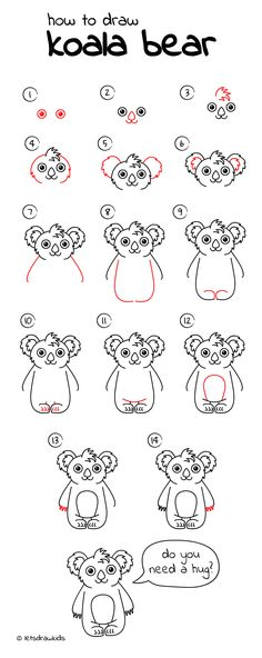 How to draw Koala Bear. Easy drawing, step by step, perfect for kids! Let's draw kids. http://letsdrawkids.com/