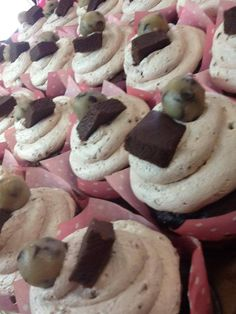 Lick the bowl is a Tamara's original! A chocolate cupcake filled with cookie dough and brownie batter and iced in a brownie batter whip. Garnished with cookie dough and brownie. Yum!!  #underthepolkadots