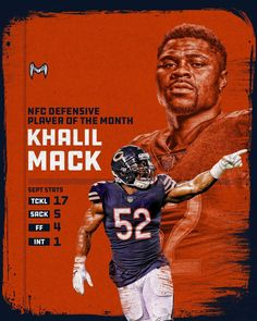 Khalil Mack Making A Huge Impact In Chicago! Bears Football, Football Baby, Football Humor, Chicago Bears Wallpaper, Mack Attack, Football Trophies, Nfl, Bear Photos, Sport Icon