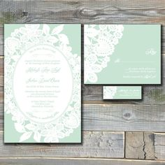 Lace Wedding Invitation Suite   Mint Green   Custom Wedding Invitations  With RSVP Cards And Address