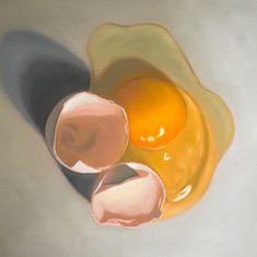Cracked Egg #4 - Original painting by Lauren Pretorius http://www.ebay.com/itm/Lauren-Pretorius-Original-Art-Food-Oil-Painting-Cracked-Egg-4-/161509210355?