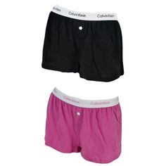 Calvin Klein Womens 2 Pack Cotton Knit Sleep Shorts (X-large, Solid pink/ Solid black) $29.95