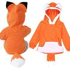 Tops ,BeautyVan Child Cartoon Design Fox Baby Hooded Boy Girl Jacket Outwear Coats Kids Clothing (12M, Orange)