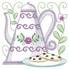 Set your table for tea with this delightful design. Includes and sizes. Dish Towel Embroidery, Machine Embroidery Applique, Free Machine Embroidery Designs, Hand Embroidery Patterns Flowers, Drawing Tutorials For Beginners, Stencils, Vintage Quilts, Crochet Yarn, Yarn Crafts