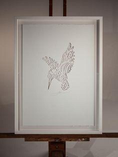 NEW! KOTARE IN THE CUT | Handcut Stencil: Small 350mm x 500mm $250,  Large 500mm x 700mm $350 (Framing additional) | Flox.co.nz Cut Paper, Paper Cutting, Paper Art, New Zealand Art, Stencils, Canvas Art, Presents, Bedroom, Happy