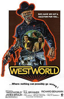 A poster for Michael Crichton's 1973 science fiction film 'Westworld' starring Yul Brynner Richard Benjamin and James Brolin Best Sci Fi Movie, Sci Fi Movies, Hd Movies, Horror Movies, Movies Online, Watch Movies, Cult Movies, Movies 2019, Film Movie