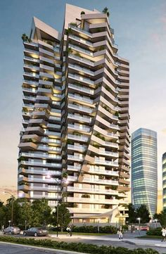 Park Tower (ex Torre Arduino) by Daniel Libeskind @ CityLife, Future Architecture Plans Architecture, Modern Architecture Design, Facade Design, Futuristic Architecture, Residential Architecture, Amazing Architecture, Exterior Design, Unique Buildings, Amazing Buildings