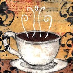 Coffee - Mixed Media Art Print 10 x 8 inches by Vintage Niki