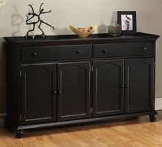 Charming Harwick Black Credenza Sideboard Buffet Table Like That It Has 2 Long  Drawers For Placemats, Etc. Small Drawers On A Sideboard Do Nothing For Me.