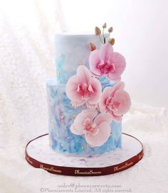 Sugar Orchids on watercolors Orchid Wedding Cake, Orchid Cake, Wedding Cakes, Beautiful Desserts, Beautiful Cakes, Amazing Cakes, Fondant Cakes, Cupcake Cakes, Shabby Chic Cakes