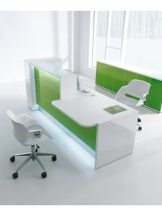VALDE Countertop Linear Reception Desk, High Gloss Lime