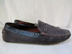 Mens ZARA MAN Leather Moccasin Shoes Footed Slipper Suede GRAY EYEHOLE 10