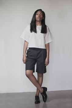 3.1 Phillip Lim top and shorts, Acne Studios brogues