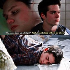 I remember this scene... Scott was on an armchair and Noah came in the doorway screaming at them and Stiles adorably awkwardly stood up and a paper stuck to his face...