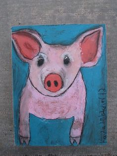 original little pink pig folk art painting on box by RockinJae, (my daughters painting)