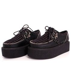 Punk Zipper Black Lace Up Women Platform Shoes 99918
