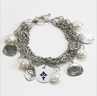"""Often called a Sanibel Island Bracelet these multi strand """"handmade"""" chains are complemented by a collection of hand cast sea shells and freshwater pearls. The addition of our high quality, precision detailed Sorority Charm is a great finishing touch to this magnificent bracelet.Solid Sterling SilverBracelet Length: 7.25"""" to 7.5""""Officially Licensed""""The indicia featured on this bracelet is a protected trademark owned by the respective sorority"""""""
