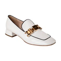 Prada Gold-Tone logo detail loafer in white  patent with black piping at Barney's
