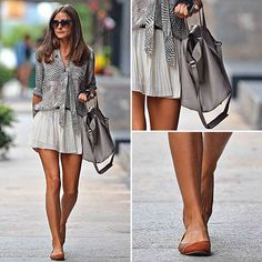 Olivia Palermo - flat pumps, short skirt