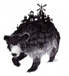 The world on your back #drawing #bear