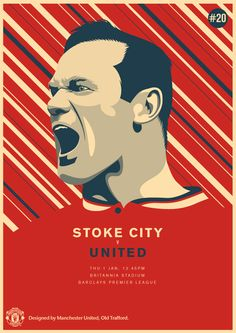 Match poster: Stoke City vs Manchester United, 1 January Designed by Sports Day Poster, United Games, Kun Aguero, Stoke City, Best Football Team, Football Design, Manchester United Football, Football Wallpaper, Old Trafford