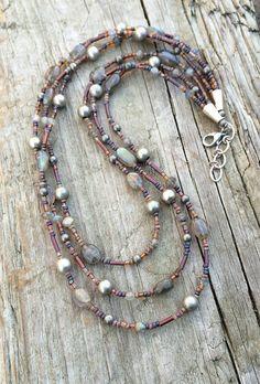 Boho Multi Strand Necklace with Labradorite, Silver, and Czech Glass