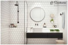 White bathroom ideas with white subway tile bathroom and floating vanity and sink plus shower room and round mirror bathroom for small bathroom decorating ideas House Bathroom, Bathroom Inspiration, Bathroom Inspo, Small Bathroom, Laundry In Bathroom, Round Mirror Bathroom, Bathroom Design, Tile Bathroom, Shower Room