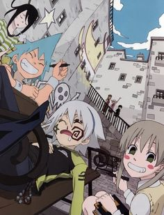 haha black star and maka destroying soul's face xD
