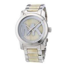 This classic two tone Michael Kors watch features a stainless steel case and band, and an embossed MK logo on dial. Stunningly beautiful watch by Stainless Steel Bracelet, Stainless Steel Case, Cool Watches, Watches For Men, Wrist Watches, Titanium Watches, Watch Sale, Quartz Watch, Fashion Watches