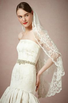 Love the lace, but I doubt this style would work on short hair. Probably for the best. (Luella Veil)