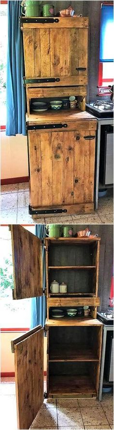 See an idea for the storage in the kitchen, it contains 2 layers. The upper layer has ample storage space, then comes the surface to place the spice bottles and there is a lower layer with more storage space. The reclaimed wood pallet kitchen storage cabinet is painted to add grace to the idea.
