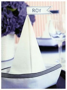 The Sailboat Napkin Fold is great for nautical parties!