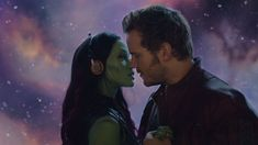 """Zoe Saldana as Gamora and Chris Pratt as Star Lord of the Marvel """"Guardians Of The Galaxy"""" movie, about to kiss and consummate their romance Zoe Saldana, Chris Pratt, Star Lord, Marvel Characters, Marvel Movies, Cosplay Characters, Marvel Universe, Karen Gillian, Starlord And Gamora"""