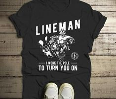 Lineman Love, Lineman Shirts, Womens Size Chart, S Man, Mens Tees, Funny Shirts, T Shirts For Women, Lightning Bolt, Spun Cotton