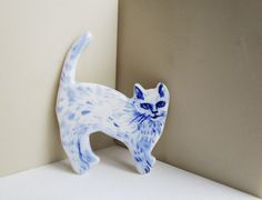 Kitten  Handpainted Delft Porcelain Brooch by HarrietDamave