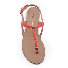 hot coral strappy sandal (flats, footwear, shoes, summer)