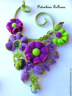 """Купить Колье """"Фея Волшебной Чечевицы"""" - фиолетовый, ярко-зелёный, весенний, радостный, чечевички, чечевица"""