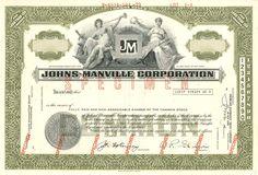 Johns-Manville Corporation Specimen Stock Cerificate