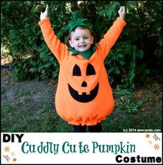 Sew Can Do: Make A Cuddle Cute Pumpkin Costume Without A Pattern! Full tutorial for a lined pumpkin costume, collar and stem headband.