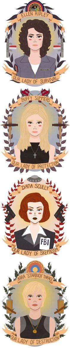 """Patron Saints of Sci-Fi Heroines 1"" by (heymonster) | #SciFi #Movies #TVSeries #Aliens #XFiles #Galactica #Buffy"